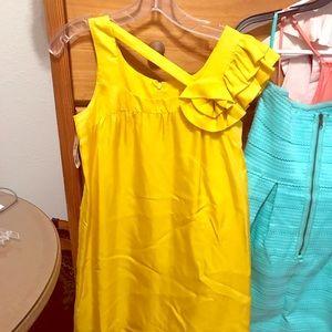 Yellow Voom dress, silk. Knee length. Size XS